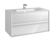 58184 - Metropole 100 cm, Washbasin Unit, 2 Drawer, Infinit Washbasin, White High Gloss