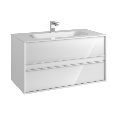 M-Line Infinit Washbasin Unit, 2 Drawers, Including Infinit Washbasin, 100 cm, High Gloss White