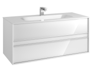 58186 - Metropole 120 cm Washbasin Unit, 2 Drawer, Infinit Washbasin, White High Gloss
