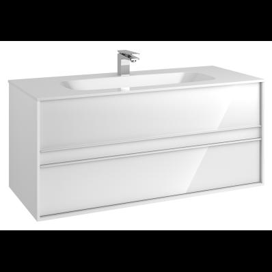 M-Line Infinit Washbasin Unit, 2 Drawers, Including Infinit Washbasin, 120 cm, High Gloss White