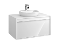 58188 - Metropole 80 cm Washbasin Unit, 1 Drawer, White High Gloss