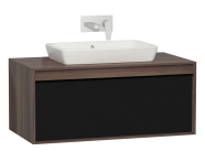 58189 - Metropole 100 cm Washbasin Unit, 1 Drawer, Plum