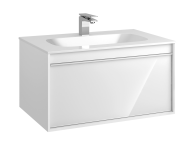 58194 - Metropole 80 cm Washbasin Unit, 1 Drawer, Infinit Washbasin, White High Gloss