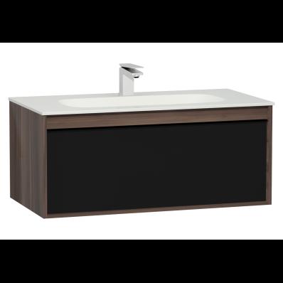 M-Line Infinit Washbasin Unit, 1 Drawer, Including Infinit Washbasin, 100 cm, Plum Tree