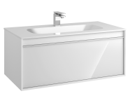 58196 - Metropole 100 cm Washbasin Unit, 1 Drawer, Infinit Washbasin, White High Gloss