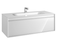 58198 - Metropole 120 cm Washbasin Unit, 1 Drawer, Infinit Washbasin, White High Gloss