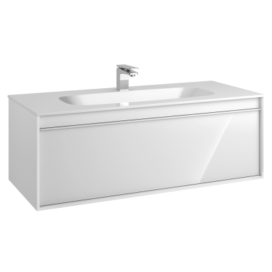 M-Line Infinit Washbasin Unit, 1 Drawer, Including Infinit Washbasin, 120 cm, High Gloss White