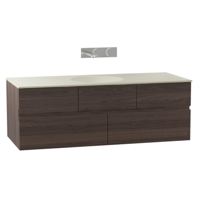 Memoria Washbasin Unit, 120 cm (Ceramic Washbasin), Matte Walnut