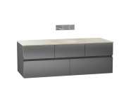 58359 - Memoria Washbasin Unit, 120 cm (Ceramic Washbasin), Grey High Gloss