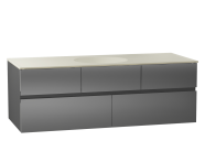 58360 - Memoria Washbasin Unit, 120 cm (Ceramic Washbasin), Grey High Gloss