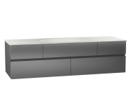 58365 - Memoria Washbasin Unit, 150 cm (Ceramic Washbasin), Grey High Gloss