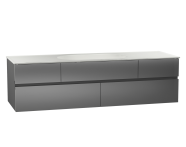 58366 - Memoria Washbasin Unit, 150 cm (Ceramic Washbasin), Grey High Gloss