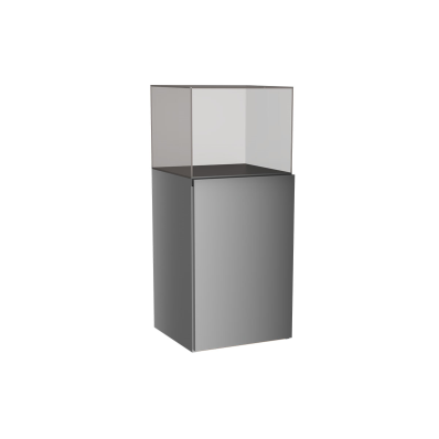 Memoria Mid Unit, with Glass Cube, Grey High Gloss, Left