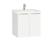 58923 - Central Washbasin Unit with doors, 60 cm, White High Gloss, Ceramic Washbasin