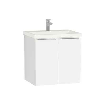 Central Washbasin Unit with doors, 60 cm, White High Gloss, Ceramic Washbasin
