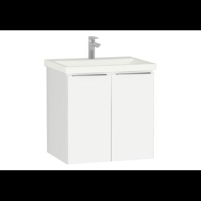 Central Washbasin Unit with doors, 60 cm, White High Gloss, Ceramic Washbasin