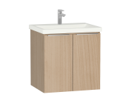 58924 - Central Washbasin Unit with doors, 60 cm, Golden Cherry, Ceramic Washbasin
