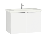 58927 - Central Washbasin Unit with doors, 90 cm, White High Gloss, Ceramic Washbasin