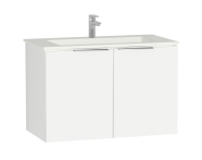 58929 - Central Washbasin Unit with doors, 90 cm, White High Gloss, Infinit Washbasin