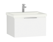 58931 - Central Washbasin Unit with 1 drawer, 60 cm, White High Gloss, Ceramic Washbasin