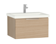 58932 - Central Washbasin Unit with 1 drawer, 60 cm, Golden Cherry, Ceramic Washbasin