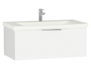 58935 - Central Washbasin Unit with 1 drawer, 90 cm, White High Gloss, Ceramic Washbasin