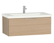 58936 - Central Washbasin Unit with 1 drawer, 90 cm, Golden Cherry, Ceramic Washbasin