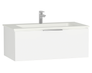 58937 - Central Washbasin Unit with 1 drawer, 90 cm, White High Gloss, Infinit Washbasin