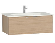58938 - Central Washbasin Unit with 1 drawer, 90 cm, Golden Cherry, Infinit Washbasin