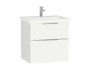 58939 - Central Washbasin Unit with 2 drawers, 60 cm, White High Gloss, Ceramic Washbasin