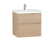58940 - Central Washbasin Unit with 2 drawers, 60 cm, Golden Cherry, Ceramic Washbasin