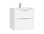 58941 - Central Washbasin Unit with 2 drawers, 60 cm, White High Gloss, Infinit Washbasin