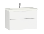 58943 - Central Washbasin Unit with 2 drawers, 90 cm, White High Gloss, Ceramic Washbasin