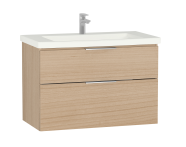 58944 - Central Washbasin Unit with 2 drawers, 90 cm, Golden Cherry, Ceramic Washbasin