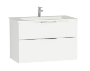 58945 - Central Washbasin Unit with 2 drawers, 90 cm, White High Gloss, Infinit Washbasin