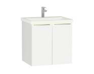 58959 - Central Washbasin Unit with doors, 60 cm, White High Gloss, Ceramic Washbasin, Led