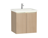 58960 - Central Washbasin Unit with doors, 60 cm, Golden Cherry, Ceramic Washbasin, Led