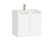 58961 - Central Washbasin Unit with doors, 60 cm, White High Gloss, Infinit Washbasin, Led
