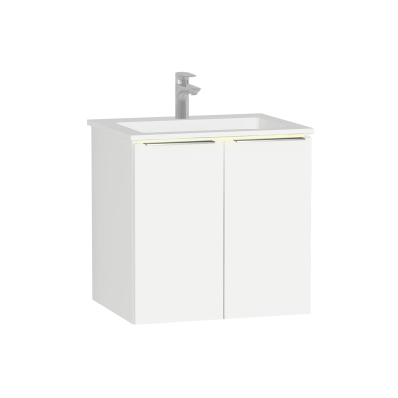 Ecora Washbasin Unit, 60 cm, with Doors, with Infinit Washbasin, with Led