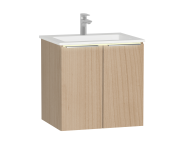 58962 - Central Washbasin Unit with doors, 60 cm, Golden Cherry, Infinit Washbasin, Led