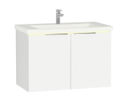 58963 - Central Washbasin Unit with doors, 90 cm, White High Gloss, Ceramic Washbasin, Led