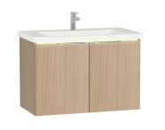 "58964 - ""Central Washbasin Unit with doors, 90 cm, Golden Cherry, Ceramic Washbasin; Led"""