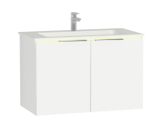 "58965 - ""Central Washbasin Unit with doors, 90 cm, White High Gloss, Infinit Washbasin; Led"""