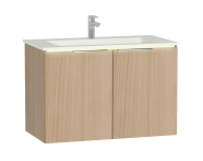 58966 - Central Washbasin Unit with doors, 90 cm, Golden Cherry, Infinit Washbasin, Led
