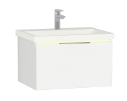 58967 - Central Washbasin Unit with 1 drawer, 60 cm, White High Gloss, Ceramic Washbasin, Led