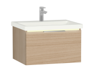 58968 - Central Washbasin Unit with 1 drawer, 60 cm, Golden Cherry, Ceramic Washbasin, Led