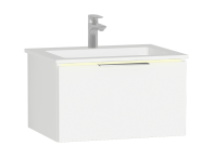 58969 - Central Washbasin Unit with 1 drawer, 60 cm, White High Gloss, Infinit Washbasin, Led