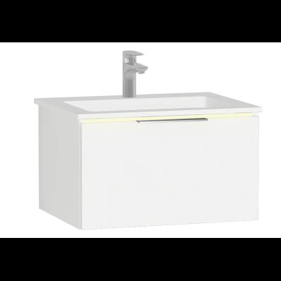 Ecora Washbasin Unit, 60 cm, with 1 Drawer, with Infinit Washbasin, with Led