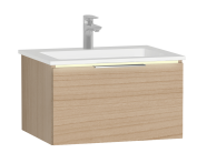 58970 - Central Washbasin Unit with 1 drawer, 60 cm, Golden Cherry, Infinit Washbasin, Led