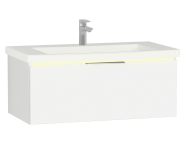 58971 - Central Washbasin Unit with 1 drawer, 90 cm, White High Gloss, Ceramic Washbasin, Led